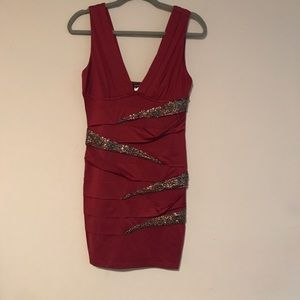NWOT Burgundy dress with sequins